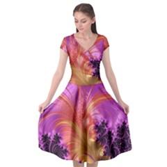 Fractal Puffy Feather Art Artwork Cap Sleeve Wrap Front Dress by Pakrebo