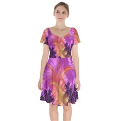Fractal Puffy Feather Art Artwork Short Sleeve Bardot Dress by Pakrebo