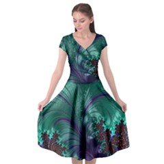 Fractal Turquoise Feather Swirl Cap Sleeve Wrap Front Dress