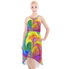 Fractal Bright Exploding Brilliant High Low Halter Chiffon Dress