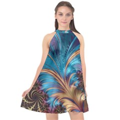 Fractal Art Artwork Psychedelic Halter Neckline Chiffon Dress  by Pakrebo