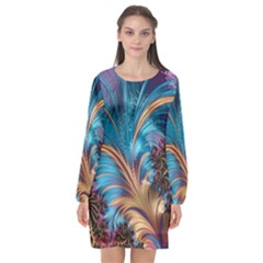 Fractal Art Artwork Psychedelic Long Sleeve Chiffon Shift Dress