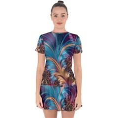 Fractal Art Artwork Psychedelic Drop Hem Mini Chiffon Dress