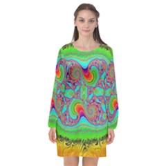 Fractal Art Design Fantasy Light Long Sleeve Chiffon Shift Dress  by Pakrebo
