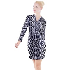 Geometric Tile Background Button Long Sleeve Dress