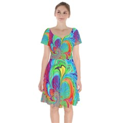 Fractal Art Psychedelic Fantasy Short Sleeve Bardot Dress