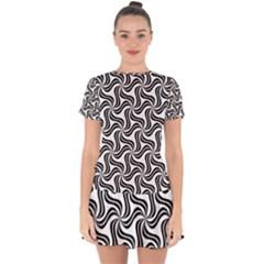 Soft Pattern Repeat Monochrome Drop Hem Mini Chiffon Dress