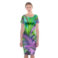 Fractal Art Artwork Feather Swirl Classic Short Sleeve Midi Dress