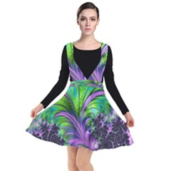 Fractal Art Artwork Feather Swirl Plunge Pinafore Dress by Pakrebo