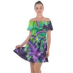 Fractal Art Artwork Feather Swirl Off Shoulder Velour Dress by Pakrebo