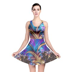 Fractal Feather Swirl Purple Blue Reversible Skater Dress by Pakrebo