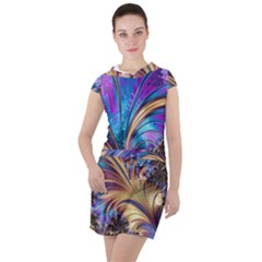 Fractal Feather Swirl Purple Blue Drawstring Hooded Dress by Pakrebo