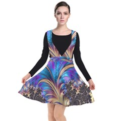 Fractal Feather Swirl Purple Blue Plunge Pinafore Dress by Pakrebo