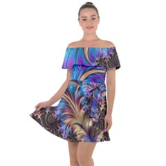 Fractal Feather Swirl Purple Blue Off Shoulder Velour Dress by Pakrebo