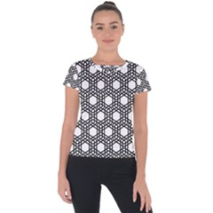Geometric Floral Curved Shape Motif Short Sleeve Sports Top