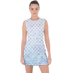 Square Pattern Geometric Blue Lace Up Front Bodycon Dress