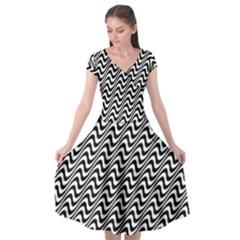 White Line Wave Black Pattern Cap Sleeve Wrap Front Dress