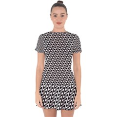 White Line Wave Black Pattern Drop Hem Mini Chiffon Dress