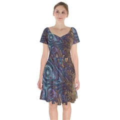 Fractal Art Artwork Globular Short Sleeve Bardot Dress by Pakrebo
