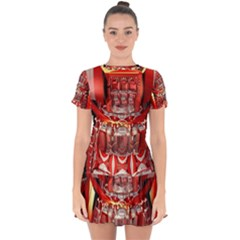 Mechanical Droid Mandelbulb Drop Hem Mini Chiffon Dress