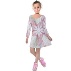 Pink Blue Flower Blossom Rose Kids  Long Sleeve Velvet Dress
