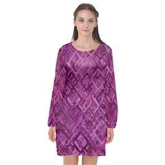 Purple Pattern Background Long Sleeve Chiffon Shift Dress