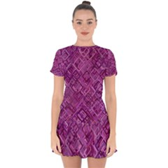 Purple Pattern Background Drop Hem Mini Chiffon Dress