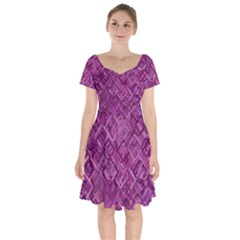 Purple Pattern Background Short Sleeve Bardot Dress