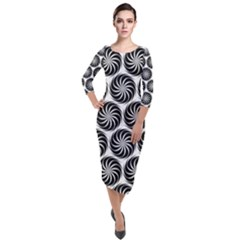 Pattern Swirl Spiral Repeating Quarter Sleeve Midi Velour Bodycon Dress