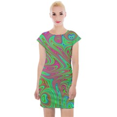 Fractal Art Neon Green Pink Cap Sleeve Bodycon Dress