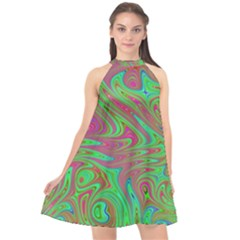 Fractal Art Neon Green Pink Halter Neckline Chiffon Dress