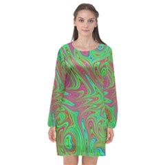 Fractal Art Neon Green Pink Long Sleeve Chiffon Shift Dress