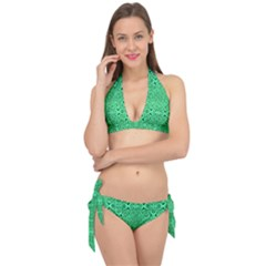 Triangle Background Pattern Tie It Up Bikini Set