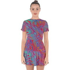 Fractal Bright Fantasy Design Drop Hem Mini Chiffon Dress