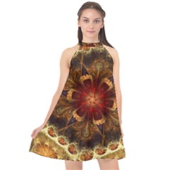 Dawn Day Fractal Sunny Gold Red Halter Neckline Chiffon Dress