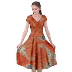 Fractal Art Artwork Pattern Fractal Cap Sleeve Wrap Front Dress