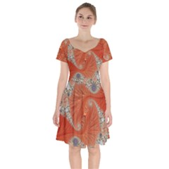 Fractal Art Artwork Pattern Fractal Short Sleeve Bardot Dress