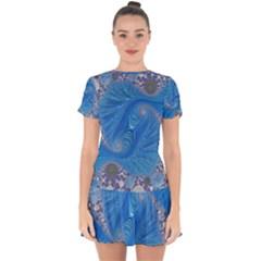 Fractal Artwork Artwork Fractal Art Drop Hem Mini Chiffon Dress by Pakrebo