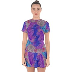 Fractal Artwork Art Design Drop Hem Mini Chiffon Dress by Pakrebo