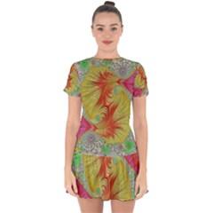 Fractal Artwork Fractal Artwork Drop Hem Mini Chiffon Dress