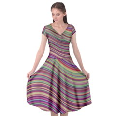 Wave Abstract Happy Background Cap Sleeve Wrap Front Dress by Pakrebo
