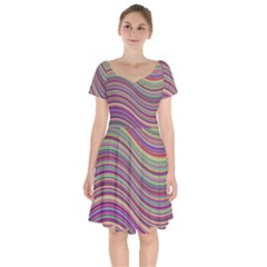 Wave Abstract Happy Background Short Sleeve Bardot Dress by Pakrebo