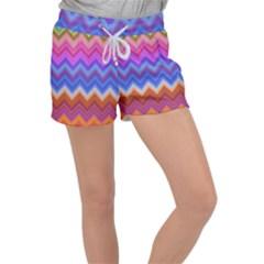 Pattern Chevron Zigzag Background Women s Velour Lounge Shorts by Pakrebo