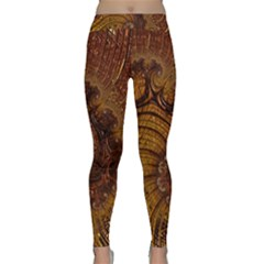 Copper Caramel Swirls Abstract Art Classic Yoga Leggings by Pakrebo