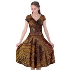 Copper Caramel Swirls Abstract Art Cap Sleeve Wrap Front Dress