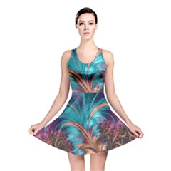 Feather Fractal Artistic Design Reversible Skater Dress by Pakrebo