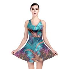 Feather Fractal Artistic Design Reversible Skater Dress