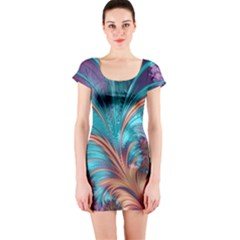 Feather Fractal Artistic Design Short Sleeve Bodycon Dress
