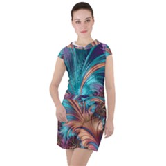 Feather Fractal Artistic Design Drawstring Hooded Dress by Pakrebo