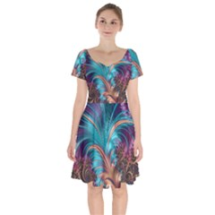 Feather Fractal Artistic Design Short Sleeve Bardot Dress